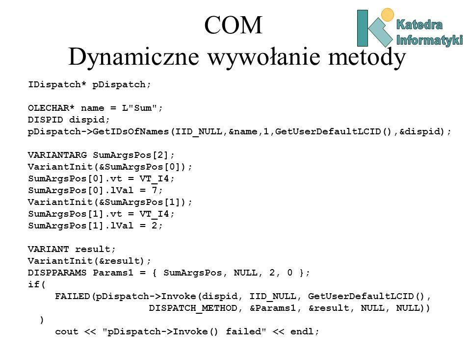 COM Dynamiczne wywołanie metody IDispatch* pDispatch; OLECHAR* name = L