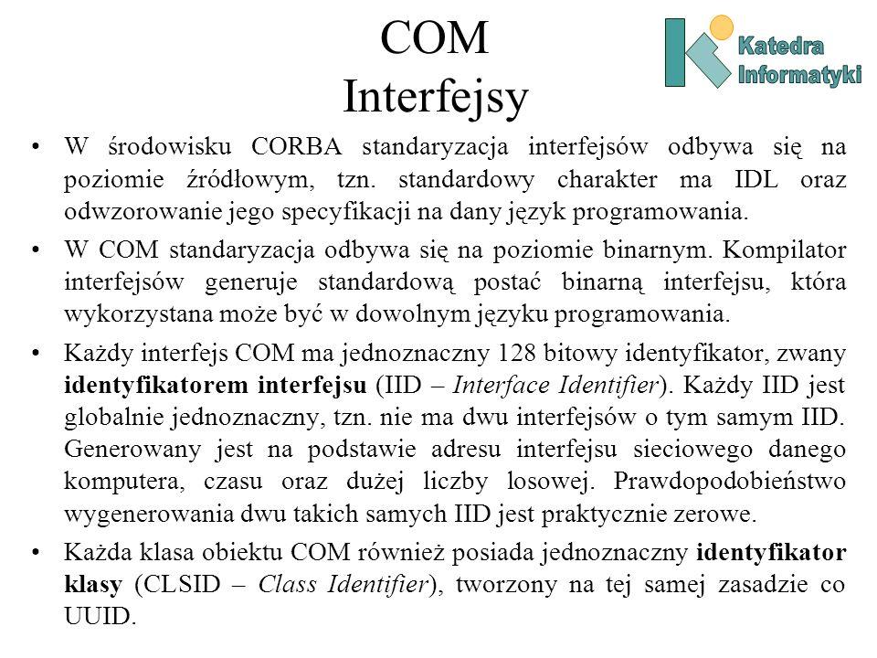 COM Interfejsy W środowisku CORBA standaryzacja interfejsów odbywa się na poziomie źródłowym, tzn. standardowy charakter ma IDL oraz odwzorowanie jego