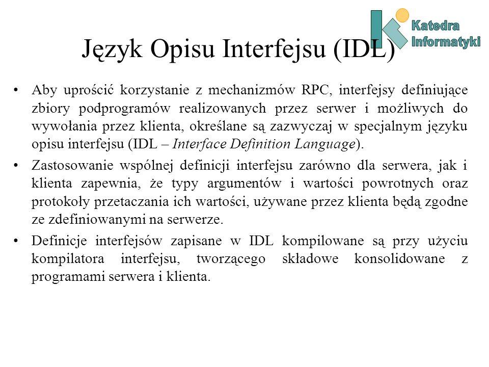 Język Opisu Interfejsu (IDL) Aby uprościć korzystanie z mechanizmów RPC, interfejsy definiujące zbiory podprogramów realizowanych przez serwer i możli