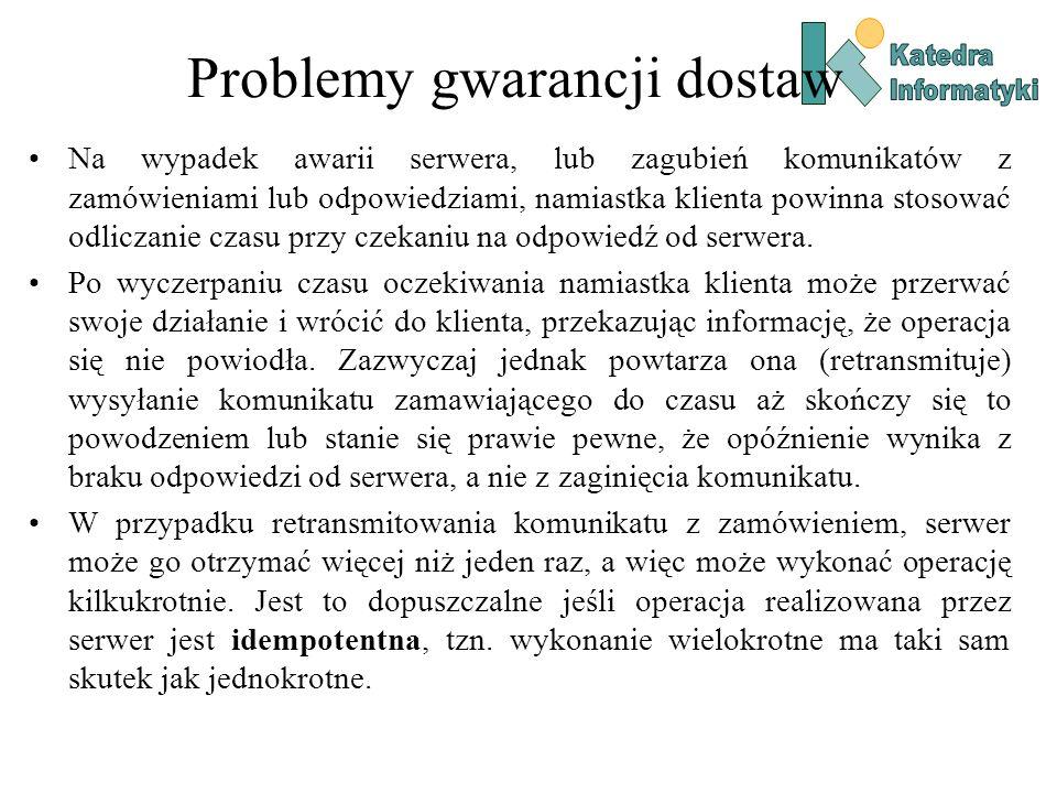 Problemy gwarancji dostaw Na wypadek awarii serwera, lub zagubień komunikatów z zamówieniami lub odpowiedziami, namiastka klienta powinna stosować odl