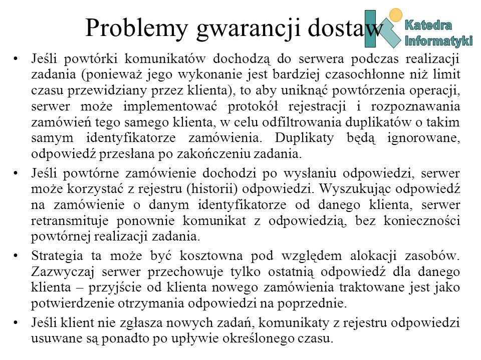Problemy gwarancji dostaw Jeśli powtórki komunikatów dochodzą do serwera podczas realizacji zadania (ponieważ jego wykonanie jest bardziej czasochłonn