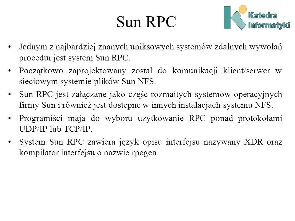 Sun RPC Jednym z najbardziej znanych uniksowych systemów zdalnych wywołań procedur jest system Sun RPC. Początkowo zaprojektowany został do komunikacj