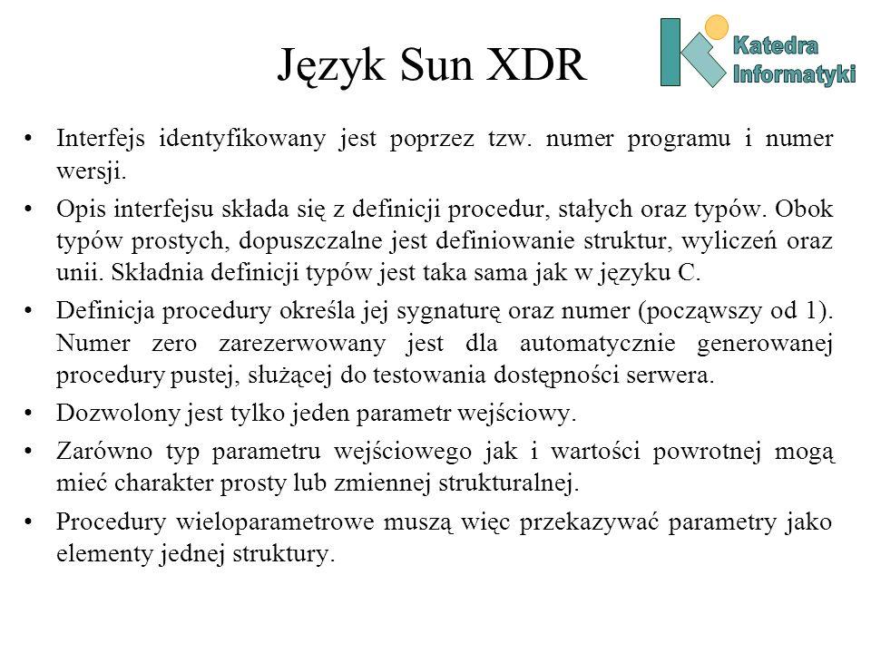 Język Sun XDR Interfejs identyfikowany jest poprzez tzw. numer programu i numer wersji. Opis interfejsu składa się z definicji procedur, stałych oraz