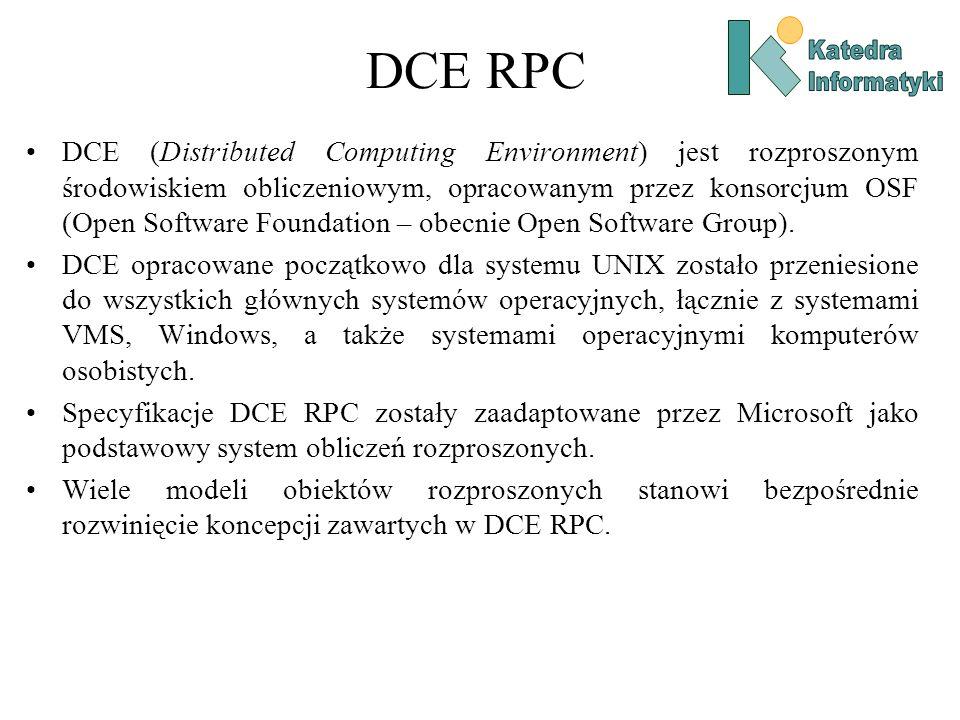 DCE RPC DCE (Distributed Computing Environment) jest rozproszonym środowiskiem obliczeniowym, opracowanym przez konsorcjum OSF (Open Software Foundati