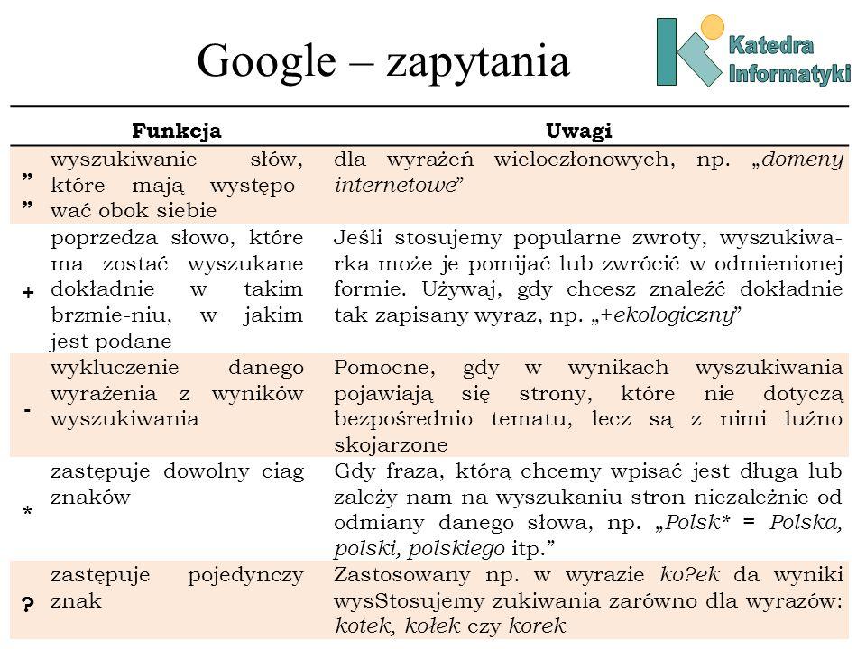 Google – zapytania FunkcjaUwagi wyszukiwanie słów, które mają występo- wać obok siebie dla wyrażeń wieloczłonowych, np. domeny internetowe + poprzedza