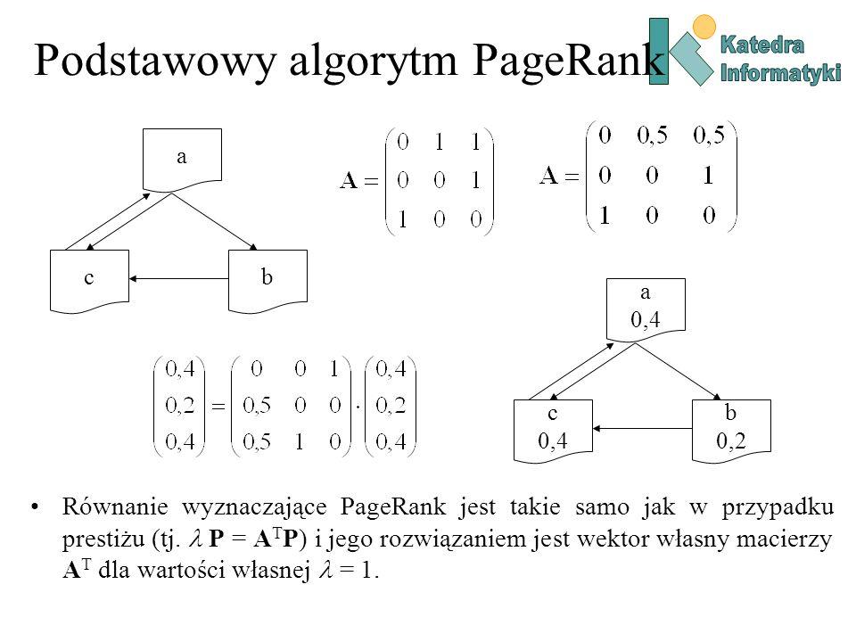 Podstawowy algorytm PageRank a bc a 0,4 b 0,2 c 0,4 Równanie wyznaczające PageRank jest takie samo jak w przypadku prestiżu (tj. P = A T P) i jego roz
