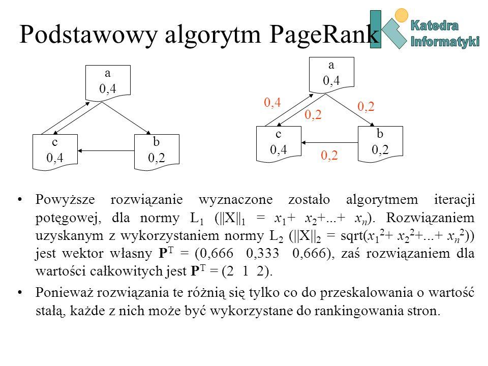 Podstawowy algorytm PageRank Powyższe rozwiązanie wyznaczone zostało algorytmem iteracji potęgowej, dla normy L 1 (||X|| 1 = x 1 + x 2 +...+ x n ). Ro