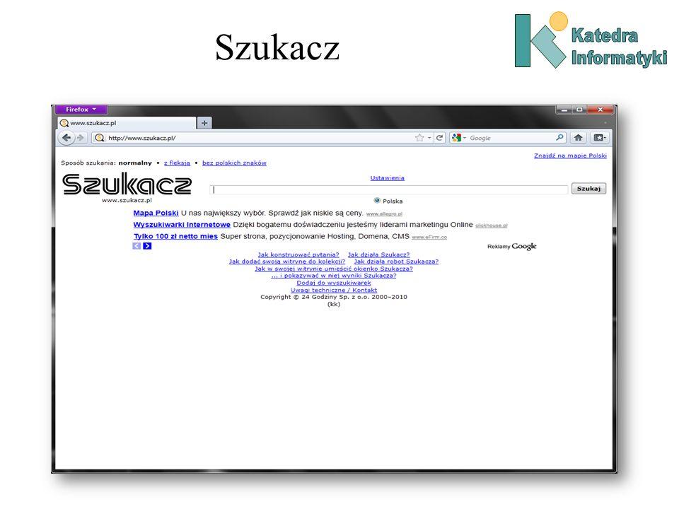 Wyszukiwarki - Historia Wymienione wyżej wyszukiwarki jako wykorzystywały jako cechy dokumentów słowa kluczowe.