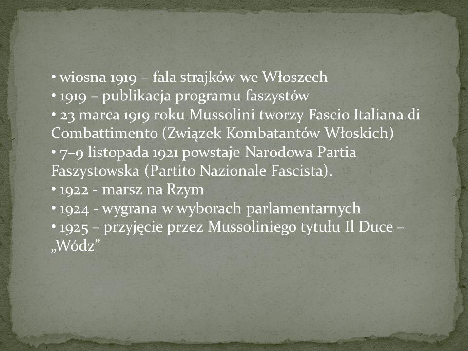 wiosna 1919 – fala strajków we Włoszech 1919 – publikacja programu faszystów 23 marca 1919 roku Mussolini tworzy Fascio Italiana di Combattimento (Zwi