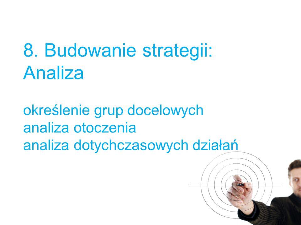8. Budowanie strategii: Analiza określenie grup docelowych analiza otoczenia analiza dotychczasowych działań