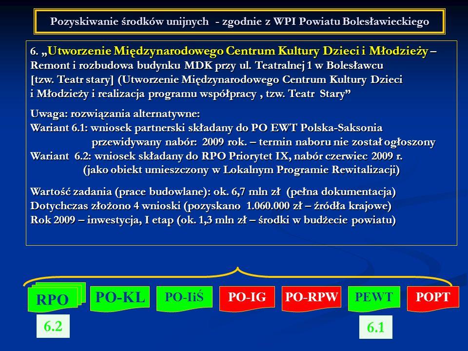 Pozyskiwanie środków unijnych - zgodnie z WPI Powiatu Bolesławieckiego 6. Utworzenie Międzynarodowego Centrum Kultury Dzieci i Młodzieży – Remont i ro