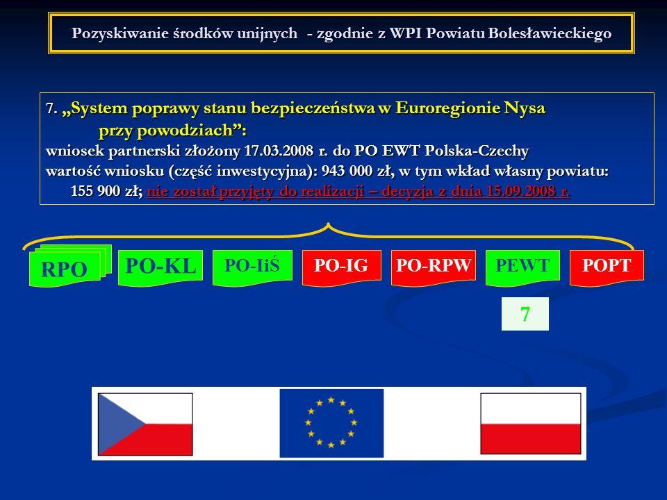 Pozyskiwanie środków unijnych - zgodnie z WPI Powiatu Bolesławieckiego 7. System poprawy stanu bezpieczeństwa w Euroregionie Nysa przy powodziach: wni