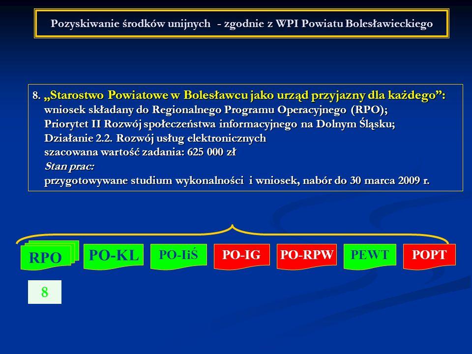 Pozyskiwanie środków unijnych - zgodnie z WPI Powiatu Bolesławieckiego 8. Starostwo Powiatowe w Bolesławcu jako urząd przyjazny dla każdego: wniosek s