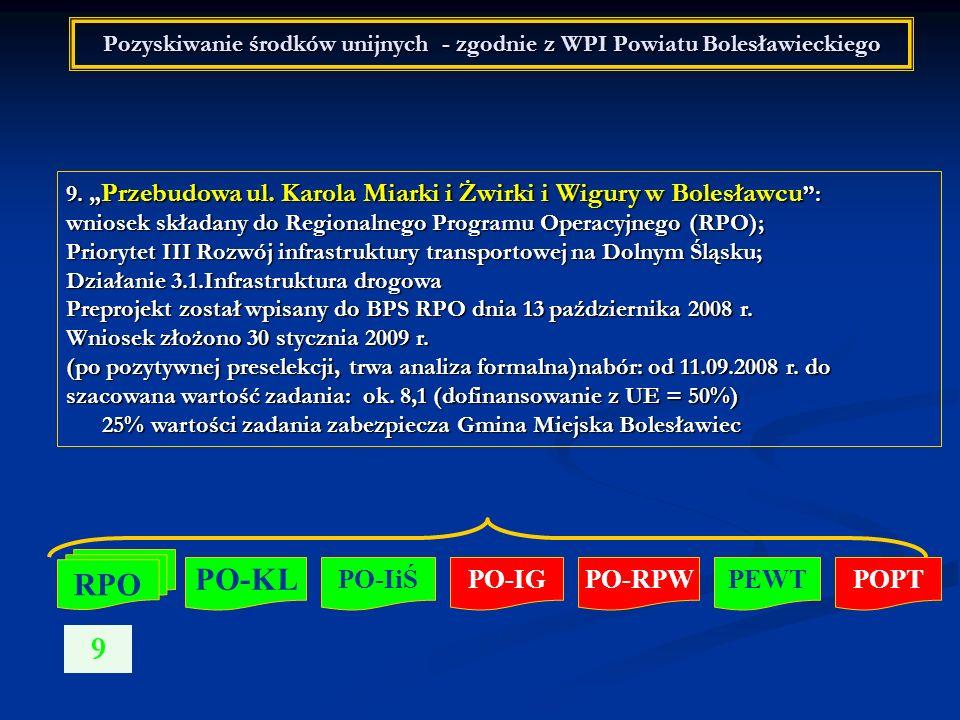 Pozyskiwanie środków unijnych - zgodnie z WPI Powiatu Bolesławieckiego 9. Przebudowa ul. Karola Miarki i Żwirki i Wigury w Bolesławcu : wniosek składa