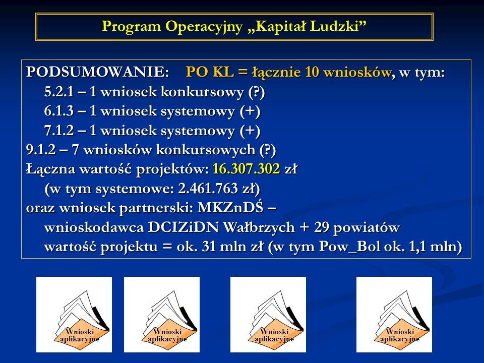 Program Operacyjny Kapitał Ludzki PODSUMOWANIE: PO KL = łącznie 10 wniosków, w tym: 5.2.1 – 1 wniosek konkursowy (?) 6.1.3 – 1 wniosek systemowy (+) 7