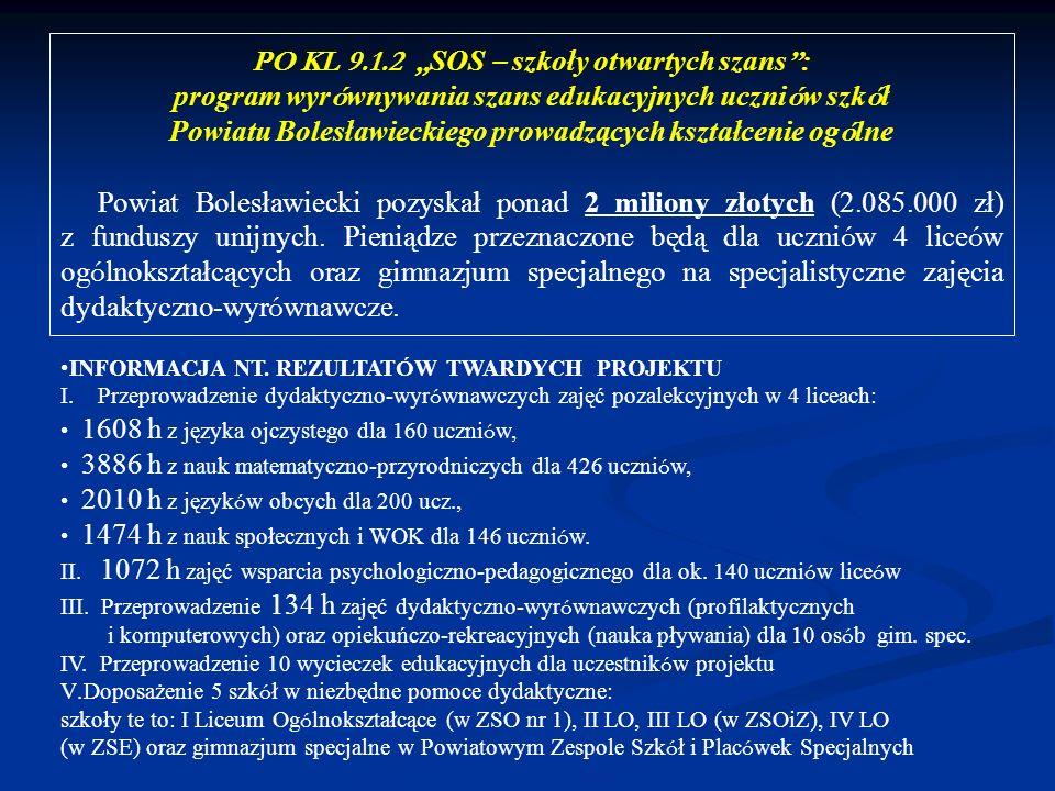 PO KL 9.1.2 SOS – szkoły otwartych szans : program wyr ó wnywania szans edukacyjnych uczni ó w szk ó ł Powiatu Bolesławieckiego prowadzących kształcen