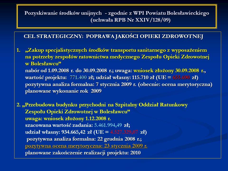 Pozyskiwanie środków unijnych - zgodnie z WPI Powiatu Bolesławieckiego (uchwała RPB Nr XXIV/128/09) CEL STRATEGICZNY: POPRAWA JAKOŚCI OPIEKI ZDROWOTNE