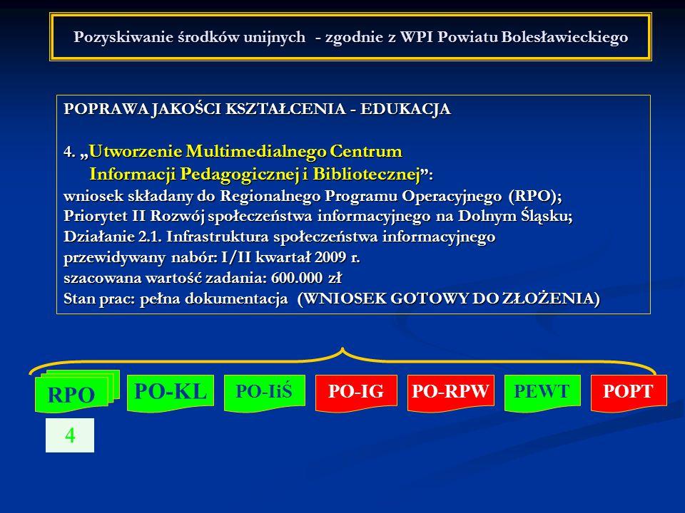 Pozyskiwanie środków unijnych - zgodnie z WPI Powiatu Bolesławieckiego POPRAWA JAKOŚCI KSZTAŁCENIA - EDUKACJA 4. Utworzenie Multimedialnego Centrum In