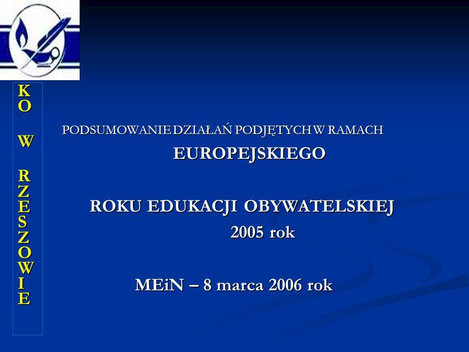 KOKO W W RZESZOWIE RZESZOWIEKOKO W W RZESZOWIE RZESZOWIE W PODSUMOWANIE DZIAŁAŃ PODJĘTYCH W RAMACH EUROPEJSKIEGO ROKU EDUKACJI OBYWATELSKIEJ 2005 rok MEiN – 8 marca 2006 rok