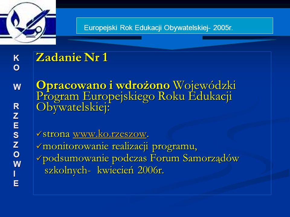 Zadanie Nr 1 Opracowano i wdrożono Wojewódzki Program Europejskiego Roku Edukacji Obywatelskiej: strona www.ko.rzeszow.