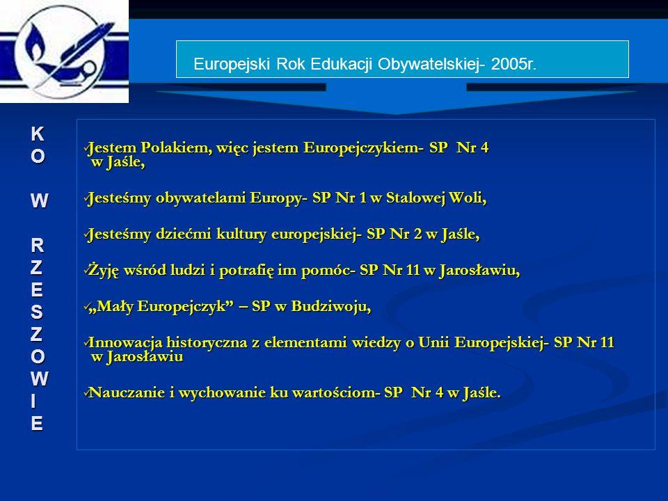 Jestem Polakiem, więc jestem Europejczykiem- SP Nr 4 w Jaśle, Jestem Polakiem, więc jestem Europejczykiem- SP Nr 4 w Jaśle, Jesteśmy obywatelami Europy- SP Nr 1 w Stalowej Woli, Jesteśmy obywatelami Europy- SP Nr 1 w Stalowej Woli, Jesteśmy dziećmi kultury europejskiej- SP Nr 2 w Jaśle, Jesteśmy dziećmi kultury europejskiej- SP Nr 2 w Jaśle, Żyję wśród ludzi i potrafię im pomóc- SP Nr 11 w Jarosławiu, Żyję wśród ludzi i potrafię im pomóc- SP Nr 11 w Jarosławiu, Mały Europejczyk – SP w Budziwoju, Mały Europejczyk – SP w Budziwoju, Innowacja historyczna z elementami wiedzy o Unii Europejskiej- SP Nr 11 w Jarosławiu Innowacja historyczna z elementami wiedzy o Unii Europejskiej- SP Nr 11 w Jarosławiu Nauczanie i wychowanie ku wartościom- SP Nr 4 w Jaśle.