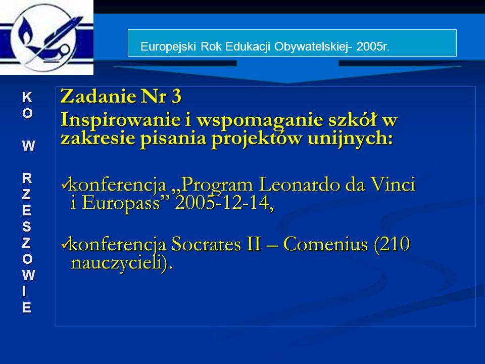 Zadanie Nr 3 Inspirowanie i wspomaganie szkół w zakresie pisania projektów unijnych: konferencja Program Leonardo da Vinci i Europass 2005-12-14, konferencja Program Leonardo da Vinci i Europass 2005-12-14, konferencja Socrates II – Comenius (210 nauczycieli).