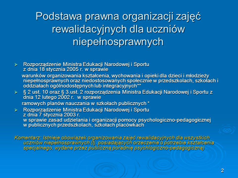 2 Podstawa prawna organizacji zajęć rewalidacyjnych dla uczniów niepełnosprawnych Rozporządzenie Ministra Edukacji Narodowej i Sportu z dnia 18 styczn