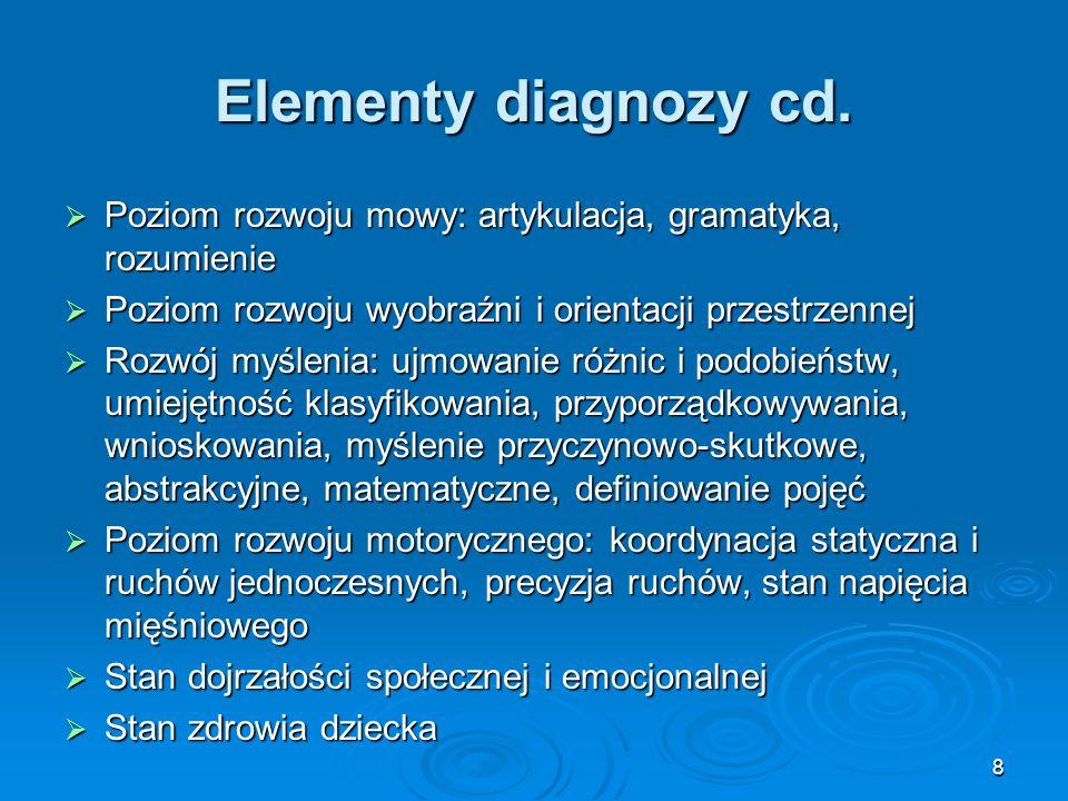 8 Elementy diagnozy cd. Poziom rozwoju mowy: artykulacja, gramatyka, rozumienie Poziom rozwoju mowy: artykulacja, gramatyka, rozumienie Poziom rozwoju