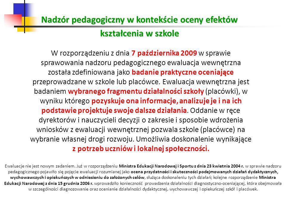 Nadzór pedagogiczny w kontekście oceny efektów kształcenia w szkole W rozporządzeniu z dnia 7 października 2009 w sprawie sprawowania nadzoru pedagogi