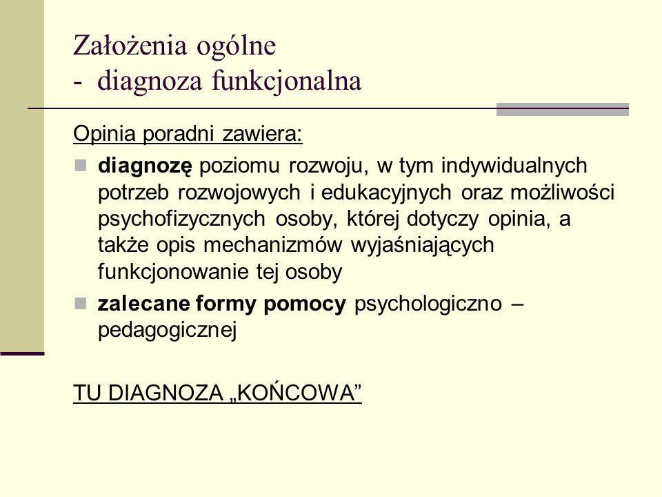 Założenia ogólne - diagnoza funkcjonalna Opinia poradni zawiera: diagnozę poziomu rozwoju, w tym indywidualnych potrzeb rozwojowych i edukacyjnych ora