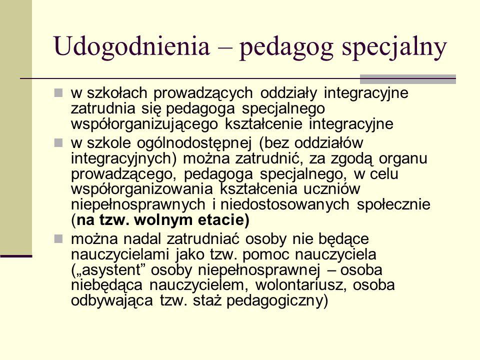 Udogodnienia – pedagog specjalny w szkołach prowadzących oddziały integracyjne zatrudnia się pedagoga specjalnego współorganizującego kształcenie inte