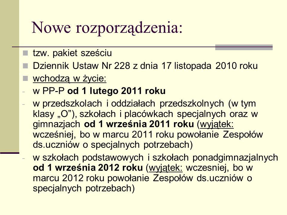Nowe rozporządzenia: tzw. pakiet sześciu Dziennik Ustaw Nr 228 z dnia 17 listopada 2010 roku wchodzą w życie: - w PP-P od 1 lutego 2011 roku - w przed