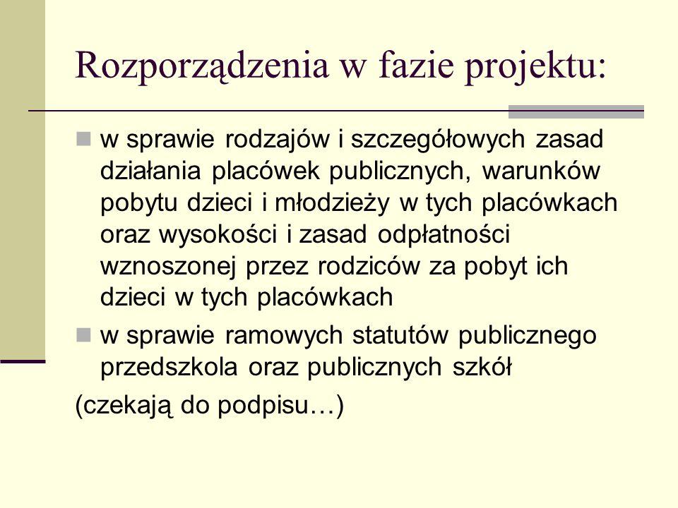 Rozporządzenia w fazie projektu: w sprawie rodzajów i szczegółowych zasad działania placówek publicznych, warunków pobytu dzieci i młodzieży w tych pl