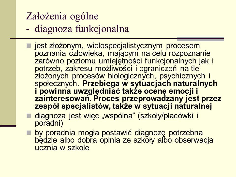 Założenia ogólne - diagnoza funkcjonalna jest złożonym, wielospecjalistycznym procesem poznania człowieka, mającym na celu rozpoznanie zarówno poziomu