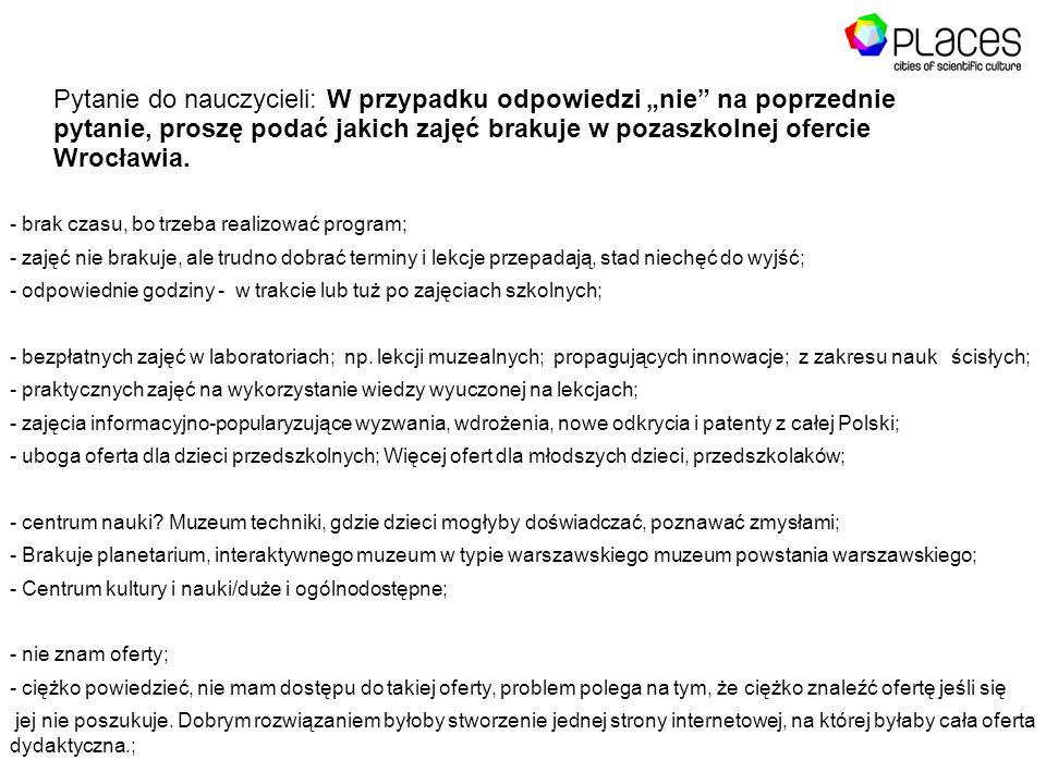 Pytanie do nauczycieli: W przypadku odpowiedzi nie na poprzednie pytanie, proszę podać jakich zajęć brakuje w pozaszkolnej ofercie Wrocławia.