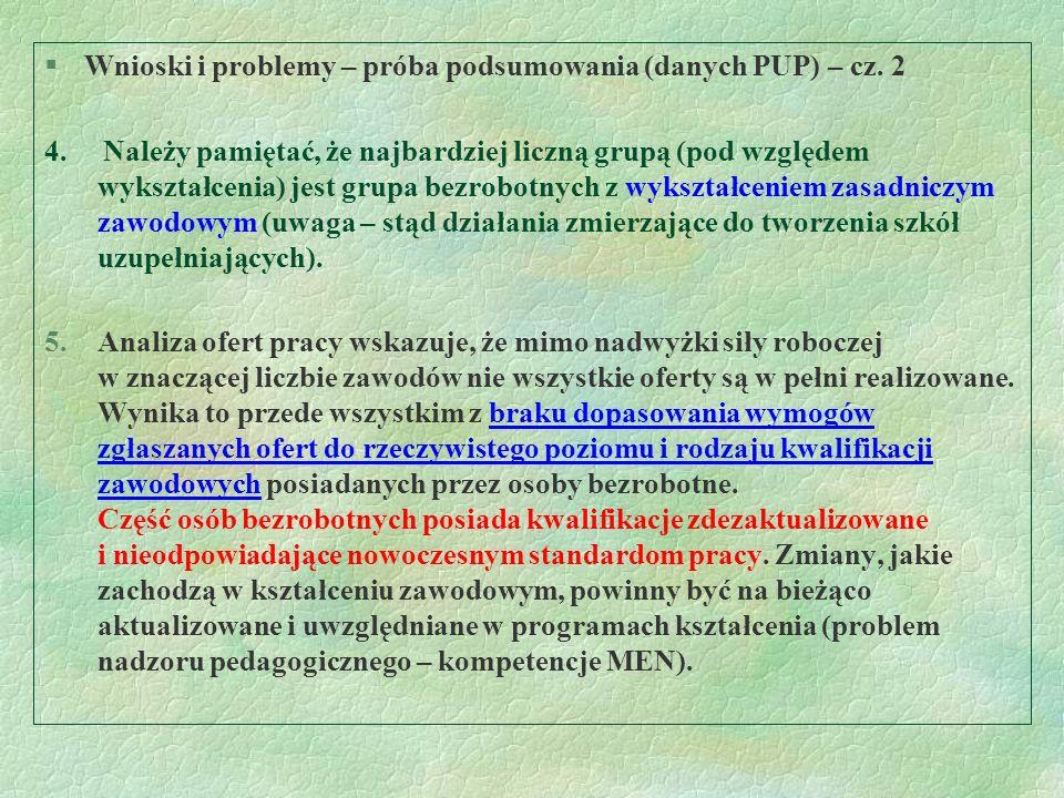 §Wnioski i problemy – próba podsumowania (danych PUP) – cz. 2 4. Należy pamiętać, że najbardziej liczną grupą (pod względem wykształcenia) jest grupa