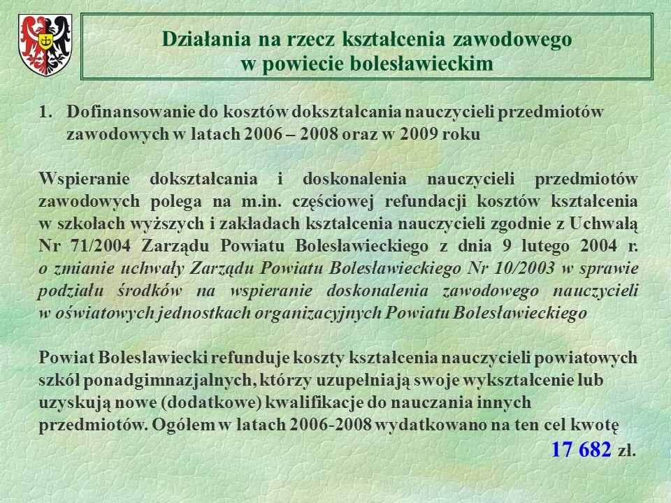 1. Dofinansowanie do kosztów dokształcania nauczycieli przedmiotów zawodowych w latach 2006 – 2008 oraz w 2009 roku Wspieranie dokształcania i doskona