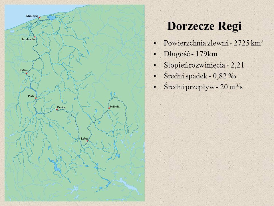 Dorzecze Regi Powierzchnia zlewni - 2725 km 2 Długość - 179km Stopień rozwinięcia - 2,21 Średni spadek - 0,82 Średni przepływ - 20 m 3/ s