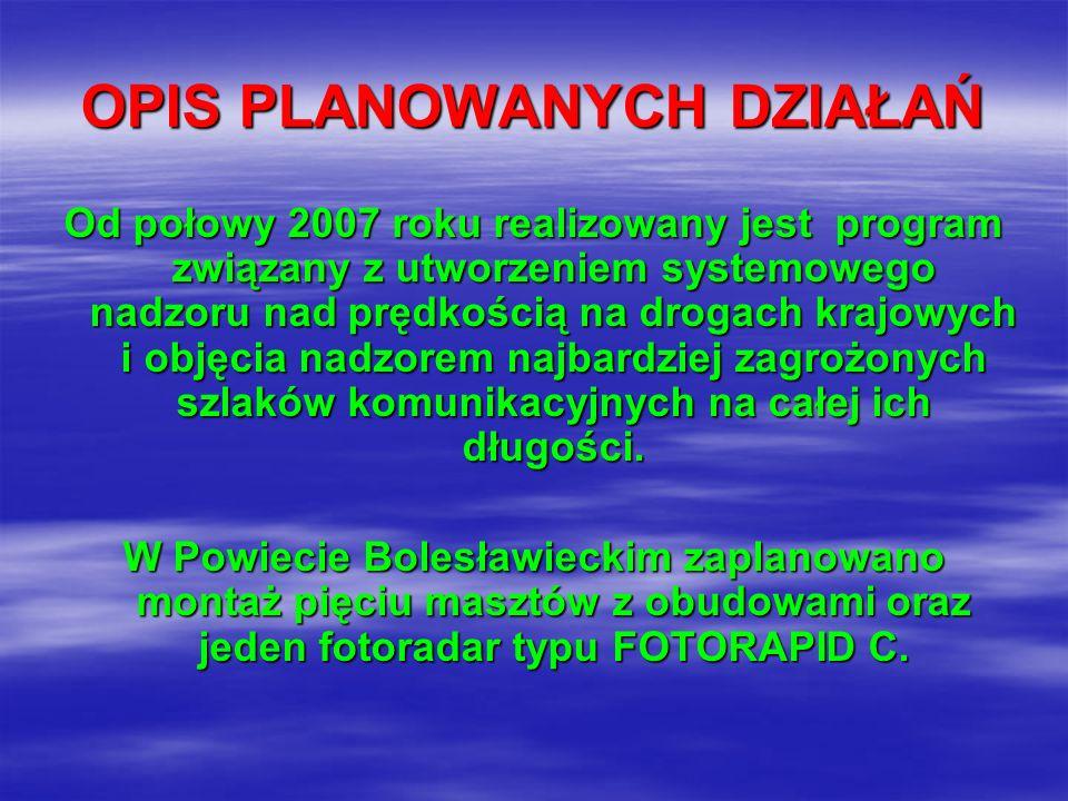 OPIS PLANOWANYCH DZIAŁAŃ Od połowy 2007 roku realizowany jest program związany z utworzeniem systemowego nadzoru nad prędkością na drogach krajowych i