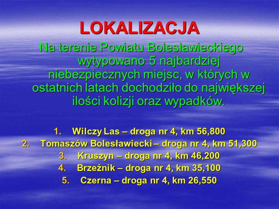 STATYSTYKA ZDARZEŃ DROGOWYCH Zdarzenia drogowe za okres 2006 oraz dwa pierwsze miesiące 2007 LOKALIZACJAWYPADKIKOLIZJERANNIZABICI 1 Wilczy Las 13310 2 Tomaszów Bolesławiecki 23102 3Kruszyn52733 4Brzeźnik33440 5Czerna24250