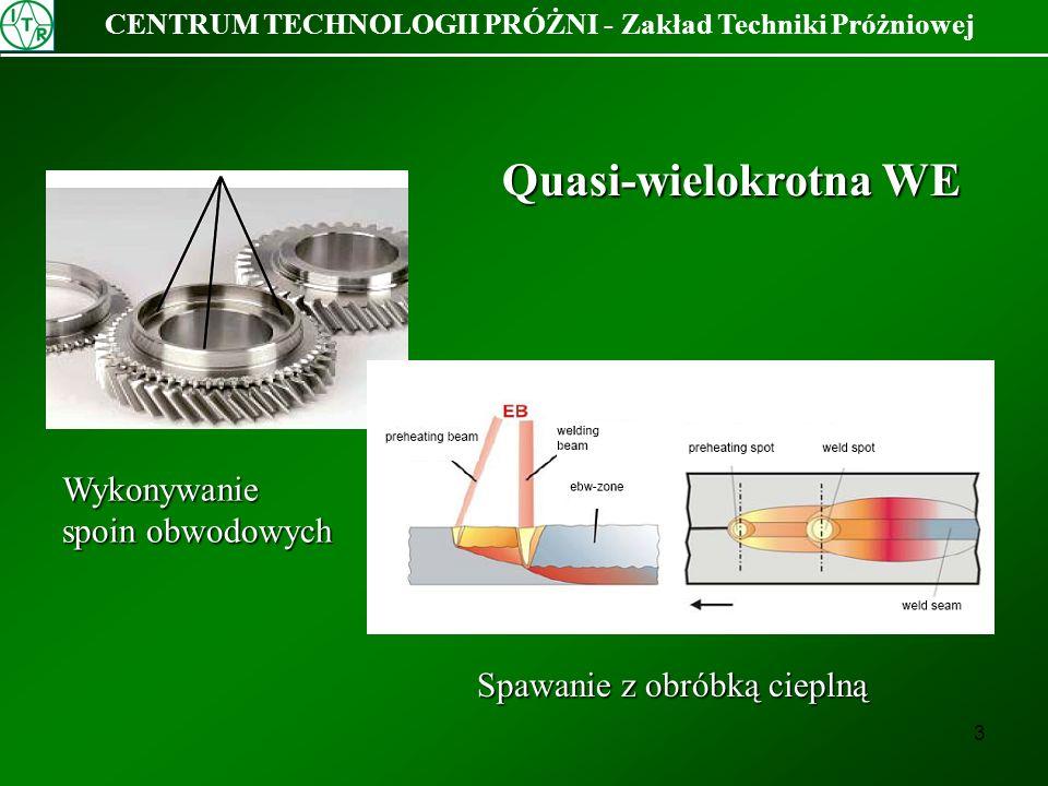 14 CENTRUM TECHNOLOGII PRÓŻNI - Zakład Techniki Próżniowej Okrąg z 1024 punktów: a) pojedyncza WE b) quasi podwójna WE c) quasi potrójna WE a bc Spoiny wykonano przy amplitudzie wzmocnienia A = 25000 co dało = 52 mm przy odległości 225 mm od cewek odchylających a) f = 0,08 Hz, Ia = 23 mA b) f = 0,14 Hz, Ia = 41 mA c) f = 0,14 Hz, Ia = 47,5 mA Grubość blachy 4 mm, średnica grani spoiny = 52,9 mm