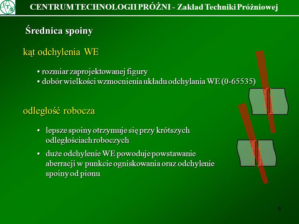 16 CENTRUM TECHNOLOGII PRÓŻNI - Zakład Techniki Próżniowej Instrukcja technologicznaOpis działania OBSPrzełączenie układu obserwacji w tryb obserwacji FIO 0 15 0.1 25000 -Włączenie figury 15 z banku 0 o częstotliwości 0.1Hz i amplitudzie 25000 z kierunkiem obrotu CCW.