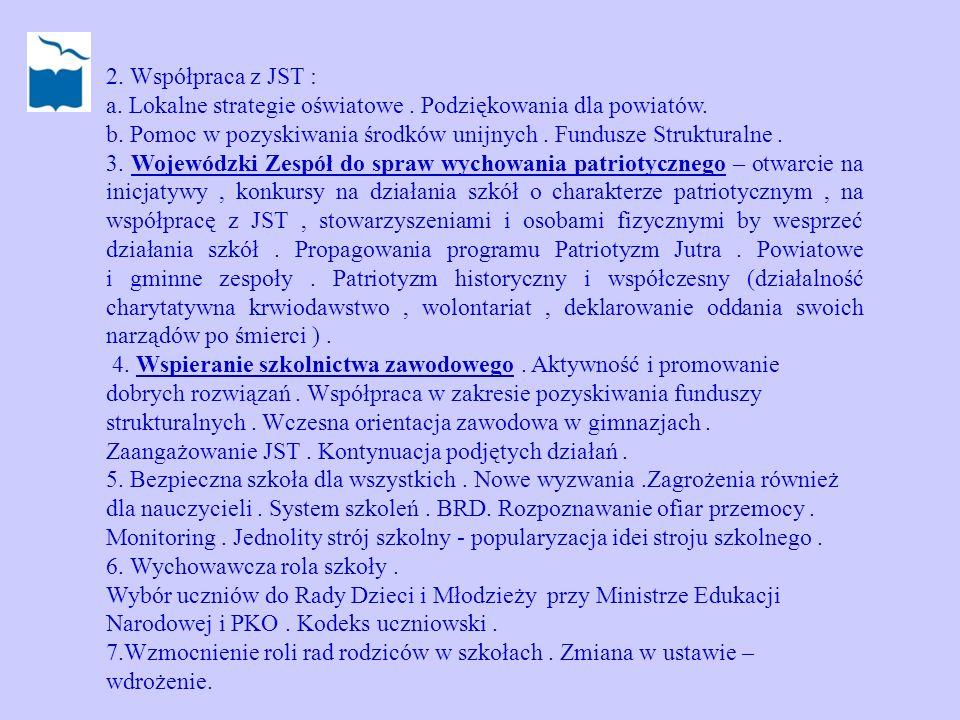 2. Współpraca z JST : a. Lokalne strategie oświatowe. Podziękowania dla powiatów. b. Pomoc w pozyskiwania środków unijnych. Fundusze Strukturalne. 3.