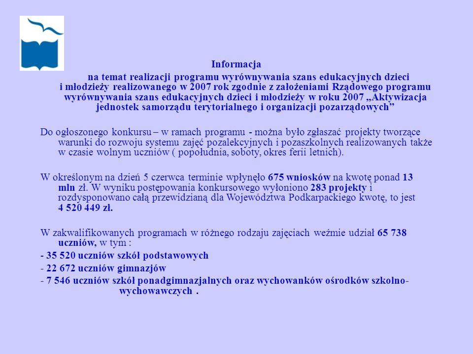 Informacja na temat realizacji programu wyrównywania szans edukacyjnych dzieci i młodzieży realizowanego w 2007 rok zgodnie z założeniami Rządowego pr