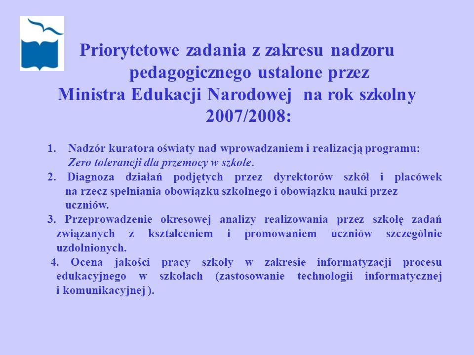 Priorytetowe zadania z zakresu nadzoru pedagogicznego ustalone przez Ministra Edukacji Narodowej na rok szkolny 2007/2008: 1. Nadzór kuratora oświaty