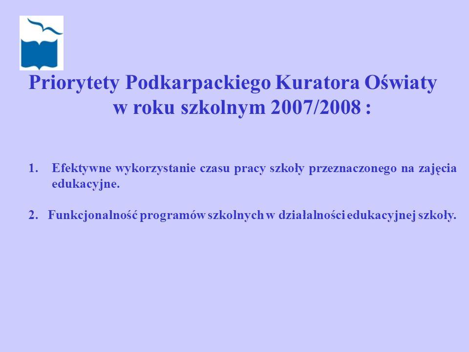 Priorytety Podkarpackiego Kuratora Oświaty w roku szkolnym 2007/2008 : 1.Efektywne wykorzystanie czasu pracy szkoły przeznaczonego na zajęcia edukacyj