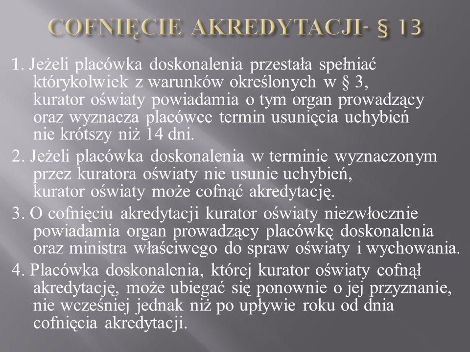 1. Jeżeli placówka doskonalenia przestała spełniać którykolwiek z warunków określonych w § 3, kurator oświaty powiadamia o tym organ prowadzący oraz w
