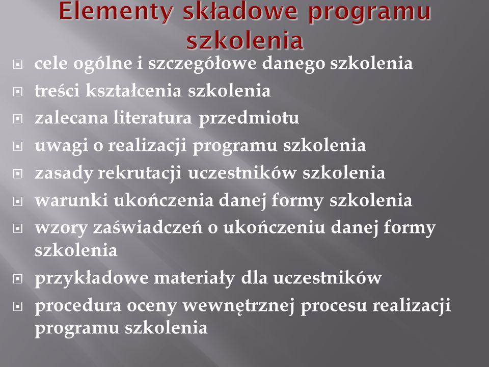 cele ogólne i szczegółowe danego szkolenia treści kształcenia szkolenia zalecana literatura przedmiotu uwagi o realizacji programu szkolenia zasady re
