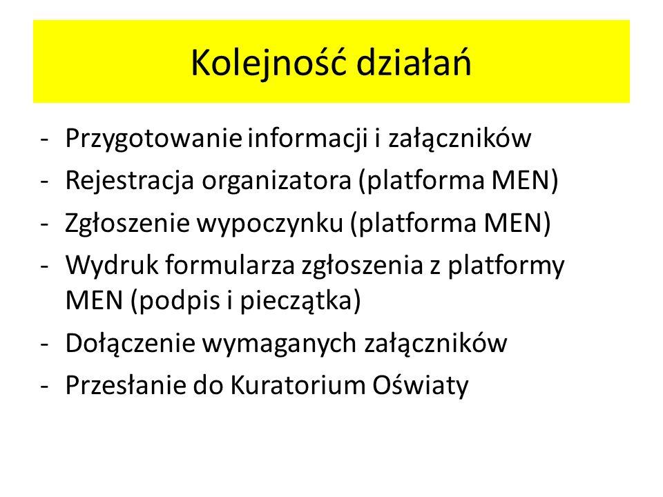 Kolejność działań -Przygotowanie informacji i załączników -Rejestracja organizatora (platforma MEN) -Zgłoszenie wypoczynku (platforma MEN) -Wydruk for