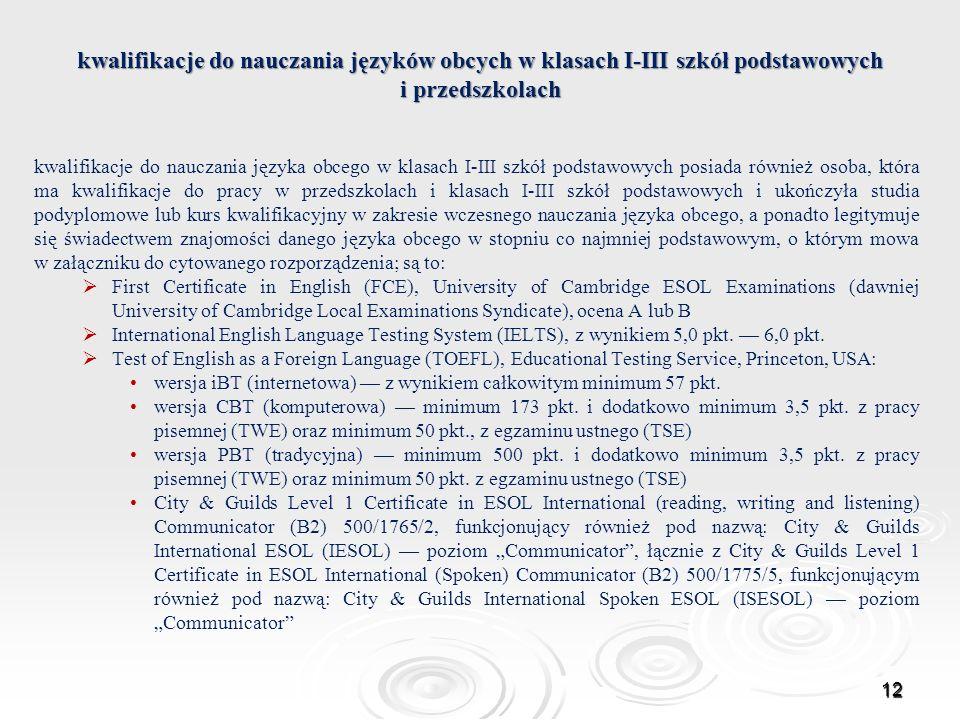 kwalifikacje do nauczania języków obcych w klasach I-III szkół podstawowych i przedszkolach kwalifikacje do nauczania języka obcego w klasach I-III sz
